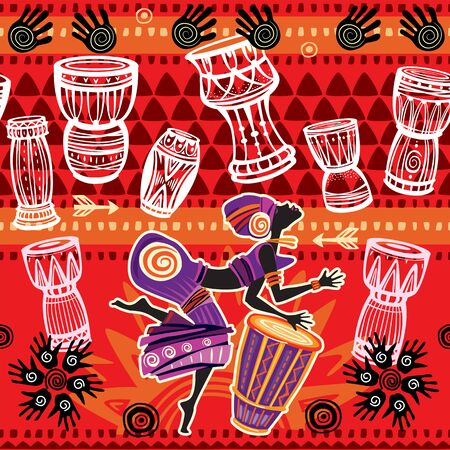 Dancing woman on ethnic background with African motifs. Seamless pattern