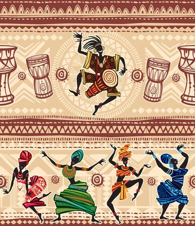 Dancing people on Ethnic background with African motifs