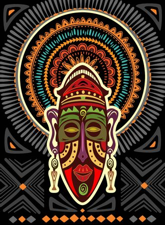 African mask on a background with geometric ornament