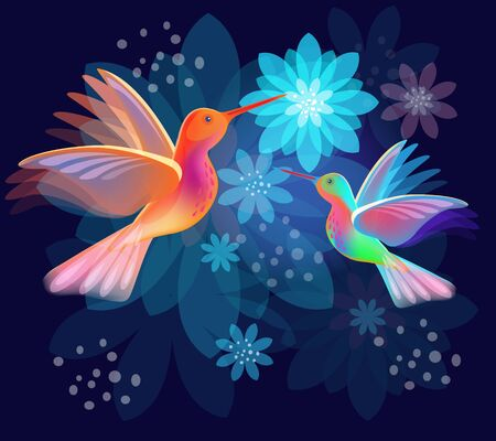 Two hummingbirds with flowers on dark blue