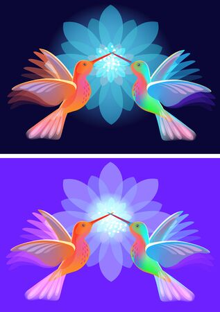 Two hummingbirds with flowers on blue background