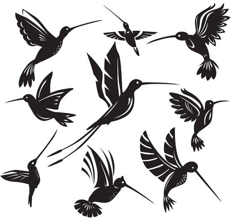 Set of silhouettes flying hummingbirds Vettoriali