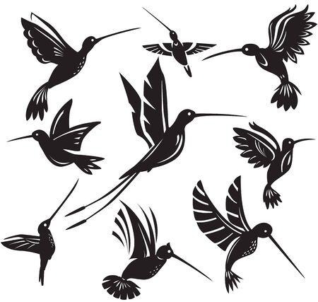 Set of silhouettes flying hummingbirds Illustration