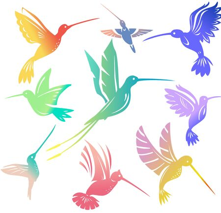 Set of colorful flying hummingbirds Isolated colibri symbol vector illustration Vettoriali