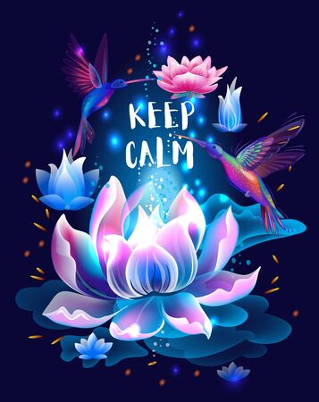 Lotus flower and hummingbirds, Keep kalm concept Vettoriali