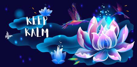 Lotus flower and hummingbirds, Keep kalm concept, Simbol of enlightenment, meditation and universe Illustration