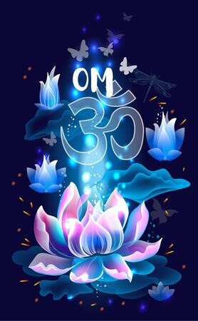 Lotus flower with OM symbol
