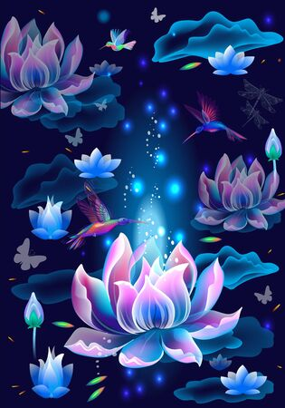 Background with Lotus flowers and hummingbirds. Simbol of enlightenment, meditation and universe Vettoriali