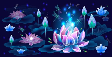 Background with Lotus flowers and dragonflies