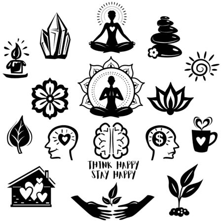 Collection of relaxation and meditation and yoga symbols Vettoriali