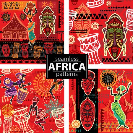 Set of Seamless patterns with Ethnic background with African motifs