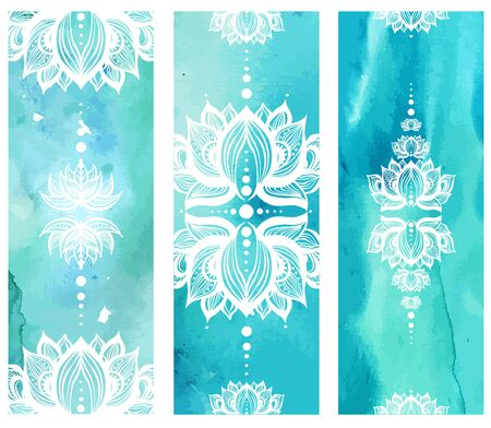 Vertical banner with lotuses on watercolor background.