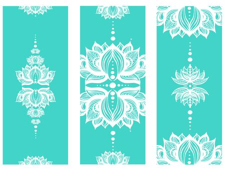 Vertical banner with lotuses Yoga mat design set. Colorful template for spiritual retreat or yoga studio.