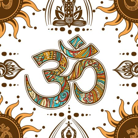 Om symbol seamless pattern background