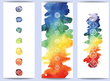 hakras symbol on color watercolor background Vettoriali
