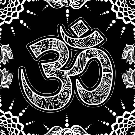 Om symbol seamless pattern background Vector esoteric background