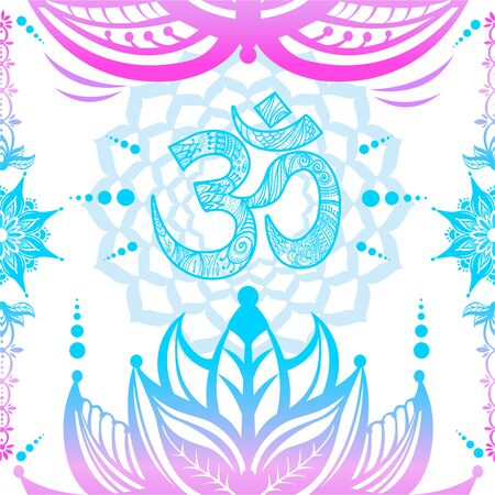Om symbol seamless pattern. Vector esoteric background