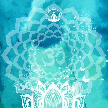 Background with lotus and Yoga symbol Template for spiritual retreat or yoga studio Vettoriali