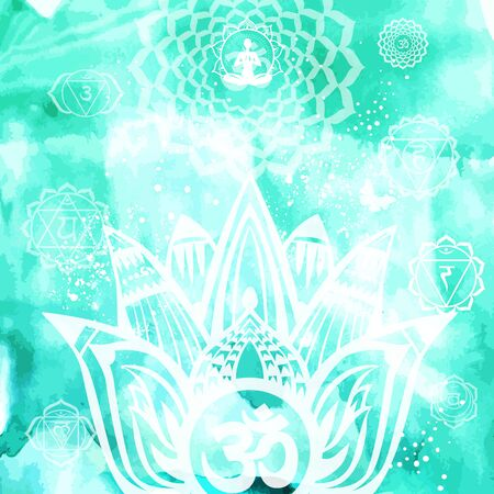 Esoteric background with lotus and Yoga symbol