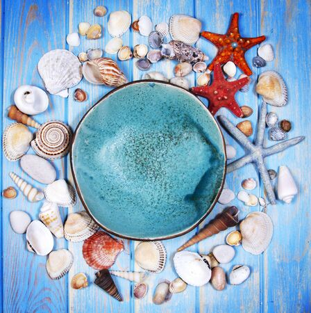 Top view of seashells and starfishes