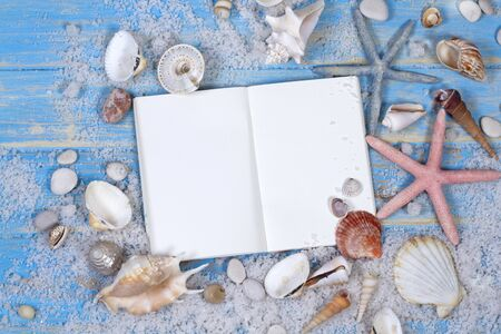 Open notebook with of seashells and starfish on blue wooden planks view Archivio Fotografico