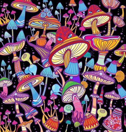 Background with bright, decorative, fantastic mushrooms