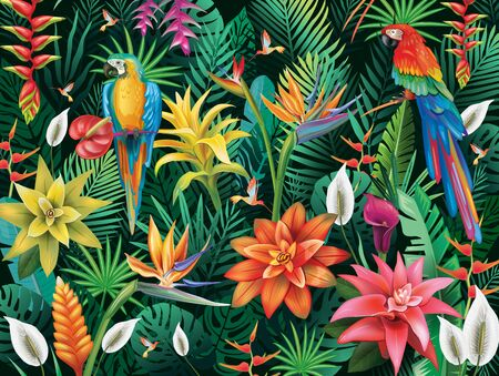 Background from tropical flowers, leaves and birds