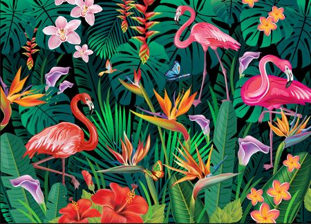 Tropical background from tropical flowers, leaves and flamingoes