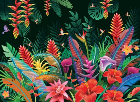 Tropical background from tropical flowers and hummingbird