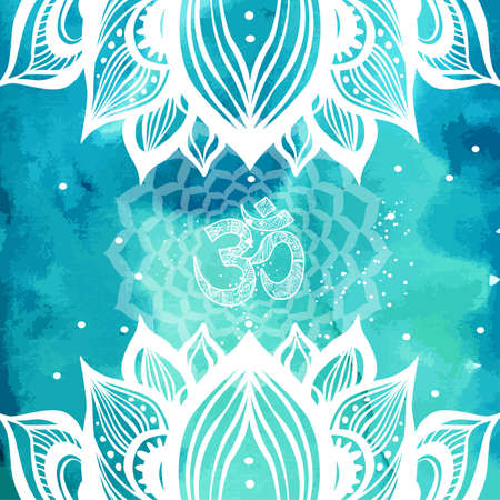 Esoteric background with lotus and Yoga symbols