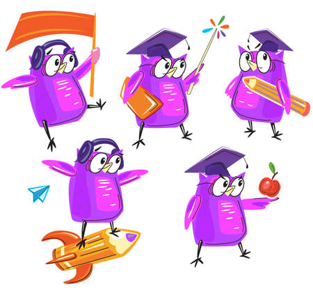Set of cute Wise owl in different poses Vecteurs
