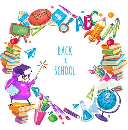 Back to school template frame with different school objects Vektoros illusztráció