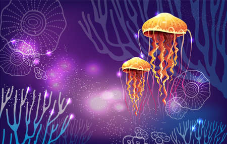 Vivid neon light illustration of jellyfish