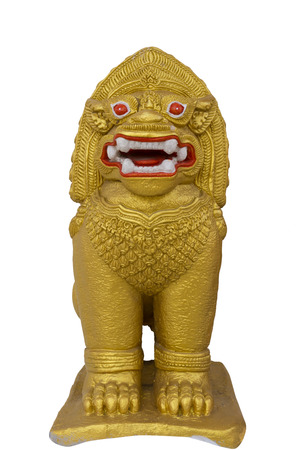 Thai giant golden lion statue on white background photo