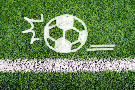 Football hand drawing graphic on soccer field photo