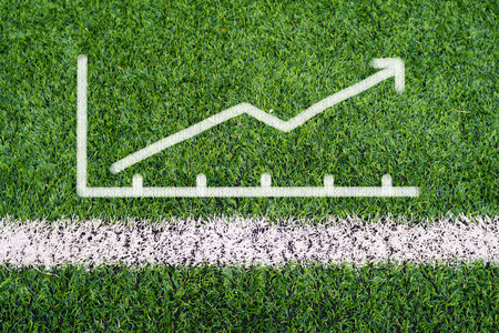 Business graph hand drawing on soccer field grass photo
