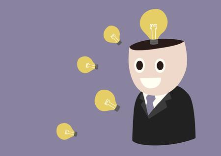 thinking machine: Pensando Machine, un hombre de negocios abre la cabeza que muestra las ideas brillantes