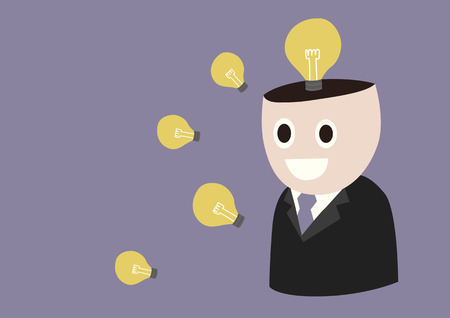 thinking machine: Thinking Machine, A businessman opens his head showing the brilliant ideas Illustration