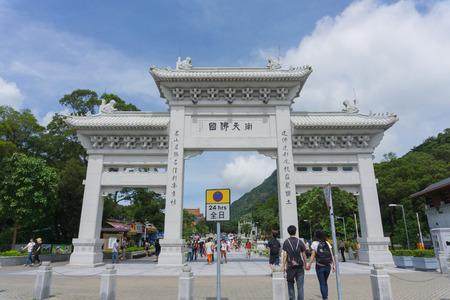 HONG KONG - July 20 : The entrance of the Tian Tan Buddha on July 20 , 2014 in Hong Kong. The Tian Tan Buddha was constructed beginning in 1990, and was finished on December 29, 1993