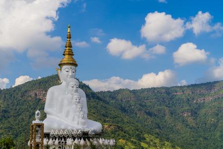 buddha image: White Buddha image hill background Stock Photo