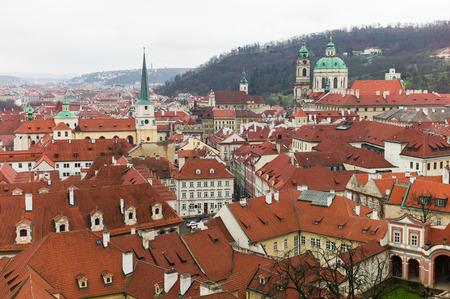stare mesto: Prague old town landscape winter time, Czech Republic Stock Photo