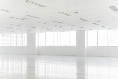 office space: White open space office interior can be used as background