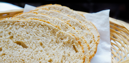 frans brood: Closed up sliced french bread in basket