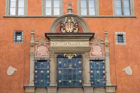 caput: Entrance to the Town Hall, Old Prague, Czech Republic Praga caput regni Stock Photo