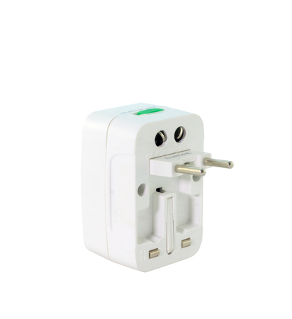 adapters: universal plug adapters, travel adapters isolated on white background
