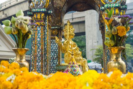 hindu god shiva: golden Brahma image at Erawan hotel