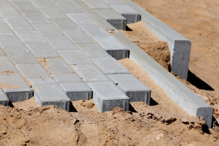 Construction of pavement and road with concrete brick Stock Photo - 81277723