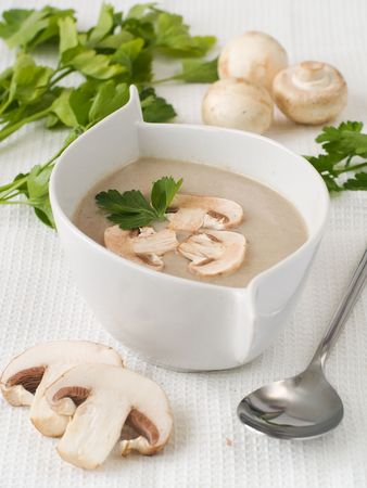 Cream-soup from field mushrooms with parsley