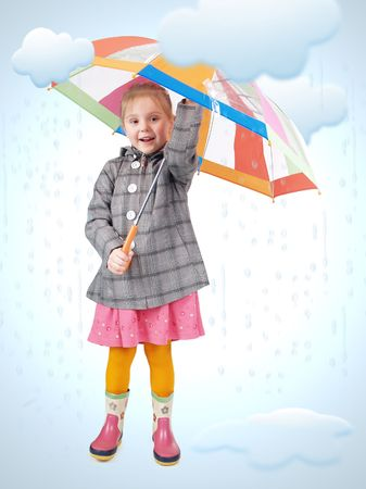 Girl standing in cartoon rain and puddles.   Photo and drawing  elements combined photo