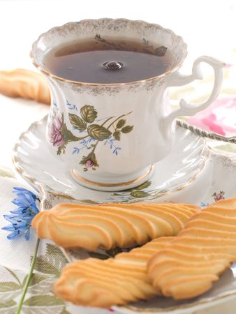 Tea with cookies for tea drinking Stock Photo
